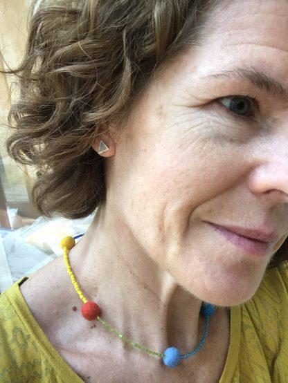 Silver triangle stud earrings