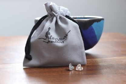 Wire print stud earrings - round/square/heart
