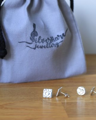Bubble stud earrings- round/square