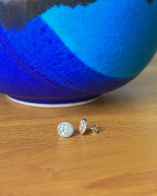 Silver stud round dotty earrings