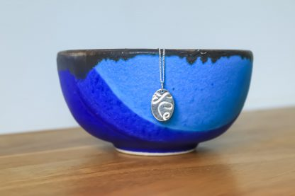 Large oval wire print pendant