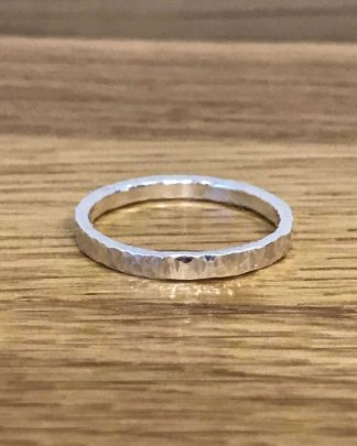 Hammered eco silver ring