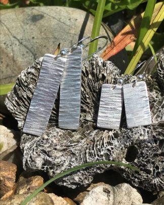 Hammered Fine Silver Drop Earrings