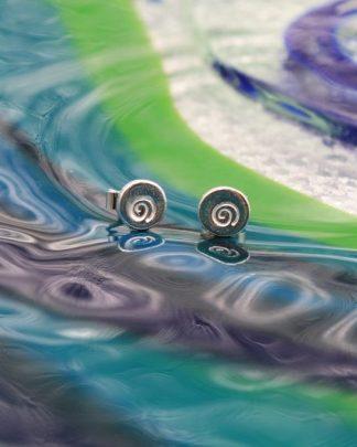Mini silver swirl stud earrings
